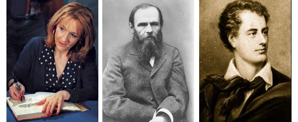 J.K Rowling, Fiodor Dostoievski e Lord Byron.