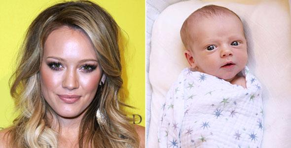Hilary Duff mostra foto do filho
