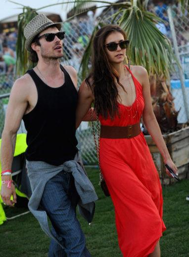 Nina Dobrev e Ian Somerhalder no Coachella Music Festival