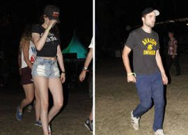 Kristen Stewart e Robert Pattinson vão juntos a festival de música