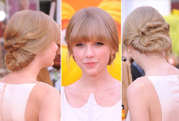 Taylor Swift com coque elaborado