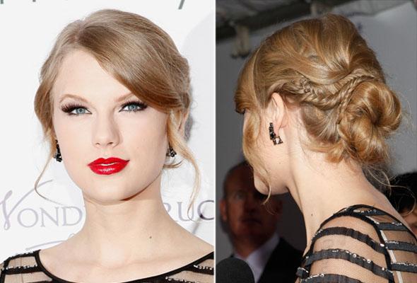 Taylor Swift com coque e trança