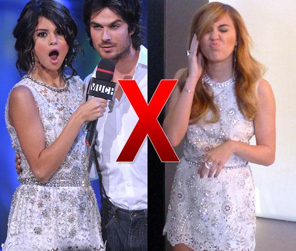 Selena Gomez e Miley Cyrus com o mesmo vestido