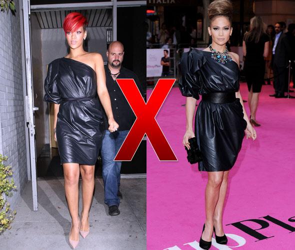 Rihanna e Jennifer Lopez com vestido preto da Lanvin