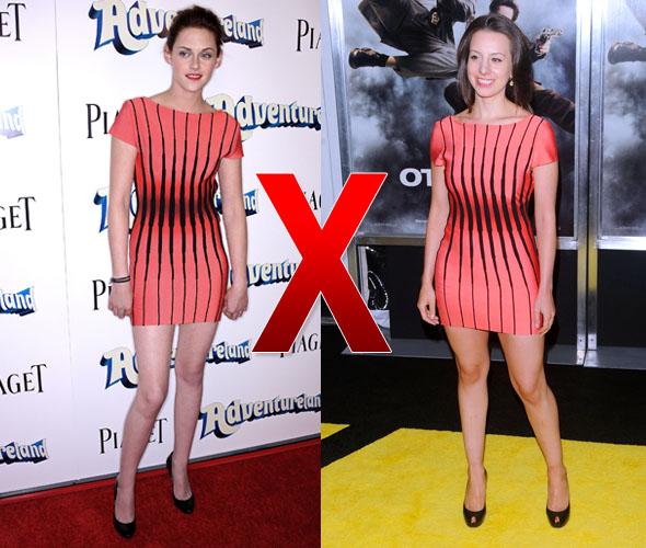 Kristen Stewart e Sarah Hughes com vestido da marca Hervé Léger
