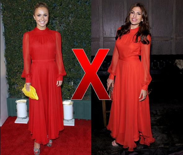 Hayden Panettiere e Eva Mendes de vestido da Gucci