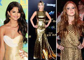 Famosas com vestido dourado