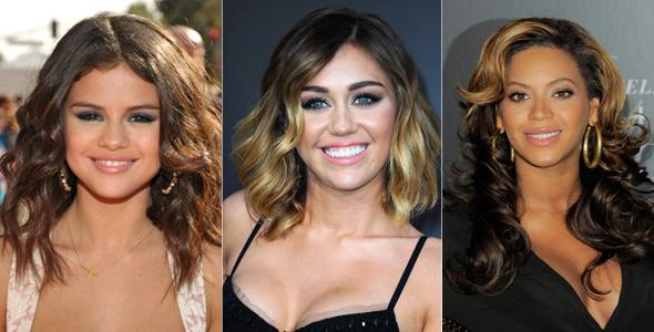 Selena Gomez, Miley Cyrus e Beyoncé com iluminador
