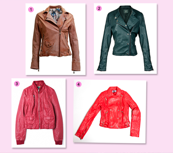 Jaquetas de couro coloridas