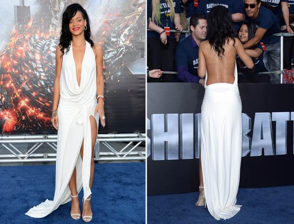 Rihanna usa vestido decotado em première de Battleship