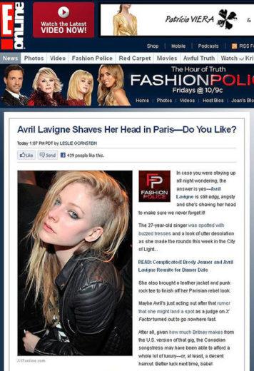 Avril Lavigne raspa lateral do cabelo