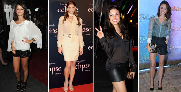 """Amanda Richter, Ashley Greene, Isis Valverde e Selena Gomez combinaram as camisas transparentes com peças """"pesadas""""."""