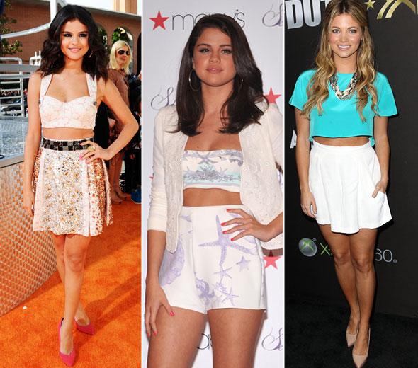 Selena Gomez e atriz Amber Lancaster usam o Cropped Top