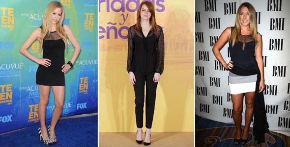 Avril Lavigne, Emma Stone e Colbie Caillet usaram a transparência de maneira muito discreta.