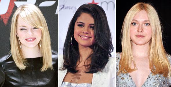 Emma Stone, Selena Gomez e Dakota Fanning usam o corte médio e estão sempre impecáveis!