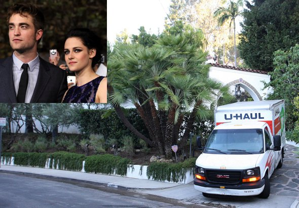 Caminhão de mudança deixa mansão de Robert Pattinson e Kristen Stewart