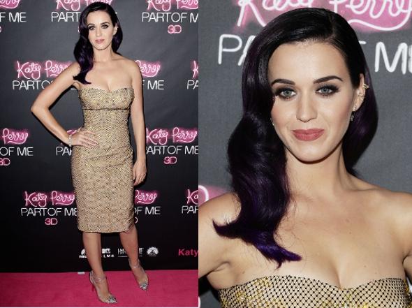 Linda! Katy Perry usa look todo dourado em première