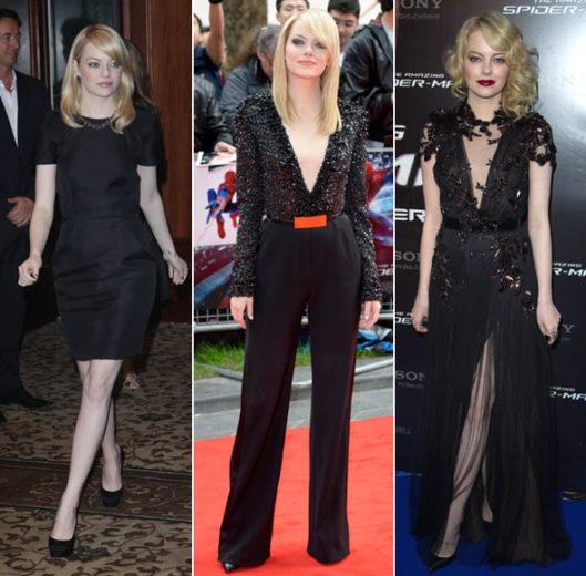 O estilo de Emma Stone nas premières de Homem-Aranha