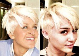 Apresentadora Ellen Degeneres copia o novo cabelo de Miley Cyrus
