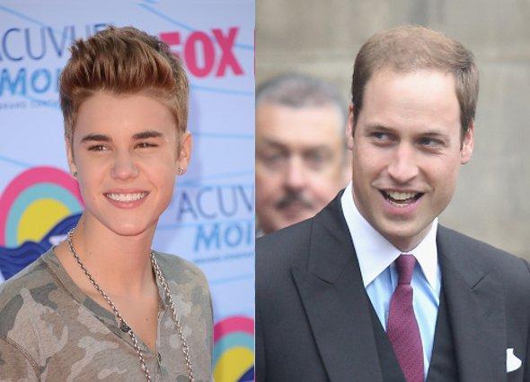 Justin Bieber critica careca de Príncipe William