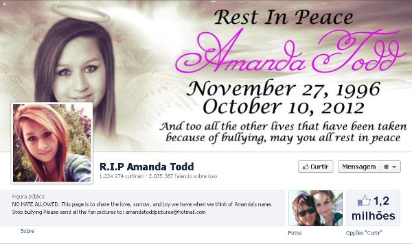 Pagina do Facebook em homenagem à Amanda Todd