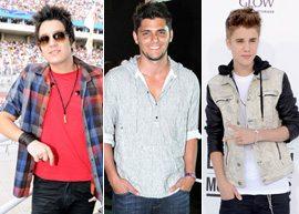 Luan Santana, Bruno Gissoni e Justin Bieber