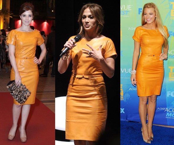 JLo, Blake Lively e Marjorie Estiano usam vestido laranja Gucci
