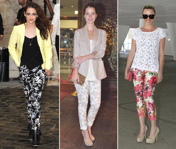 Kristen Stewart, Nathalia Dill e Nathalia Rodrigues com calça floral