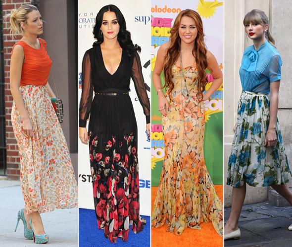 Blake Lively, Katy Perry, Miley Cyrus e Taylor Swift - estampa Floral