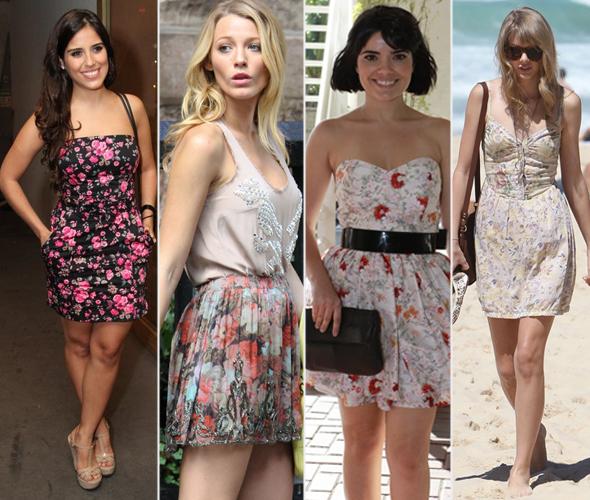Camila Camargo, Blake Lively, Vanessa Giácomo e Taylor Swift - estampa floral