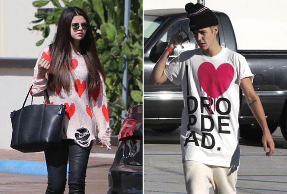 Justin Bieber e Selena Gomez usam roupa com coração em encontro