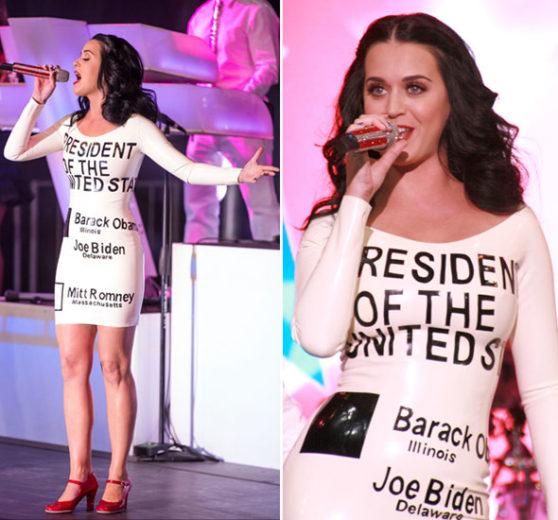 Katy Perry cantando no comício de Barack Obama