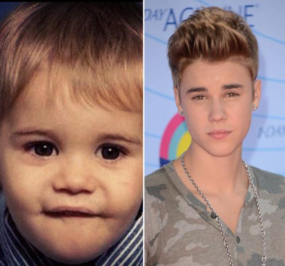 Justin Bieber bebê e foto atual