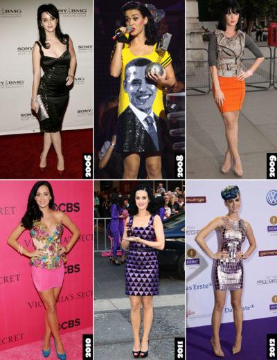 Katy Perry com vestidos médios e curtos