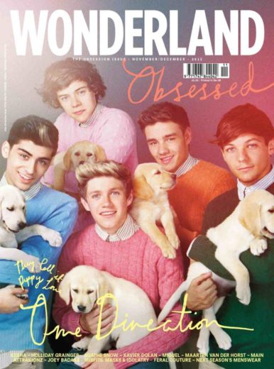 One Direction posa com filhotinhos para capa de revista