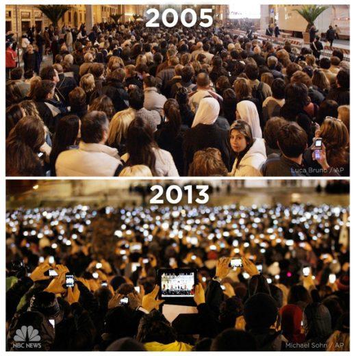 Praça de São Pedro em 2005 e em 2013. Foto: Facebook / NBC News