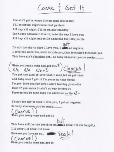 Letra de Come and Get It