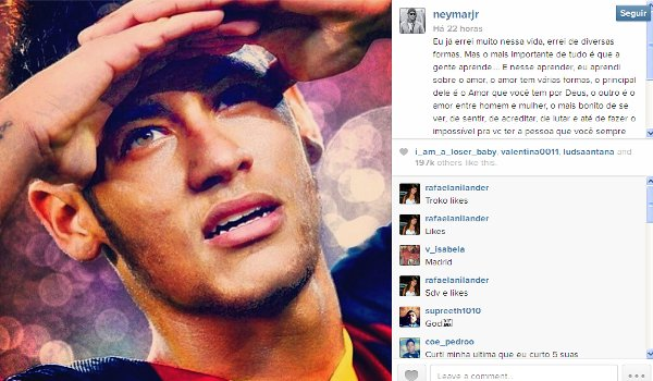 postagem de Neymar