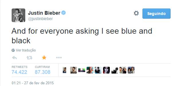 justin bieber vestido azul e preto