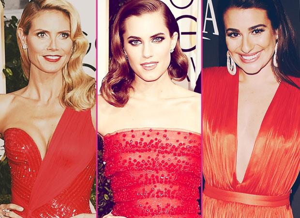 famosas no red carpet de vestido vermelho