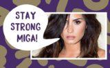 "Demi Lovato com balãozinho sobre bullying dizendo ""stay strog, miga!"""