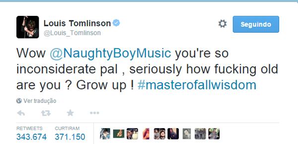 """Wow @NaughtyBoyMusic você é tão imprudente, colega. Sério, quantos anos você tem? Cresça!"""""""