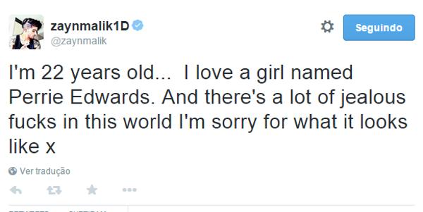 """Zayn Malik sobre rumores de traição: """"Eu amo uma garota chamada Perrie Edwards"""""""