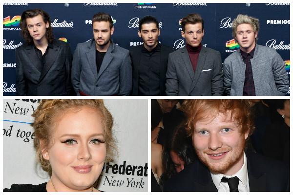 Adele, One Direction e Ed Sheeran estão na lista de artistas britânicos mais ricos antes dos 30 anos