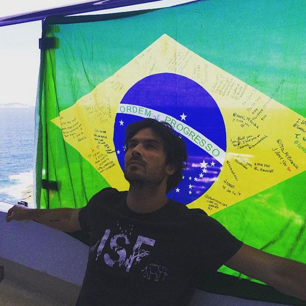 Ian Somerhalder posta foto e declara seu amor pelo Brasil no Instagram