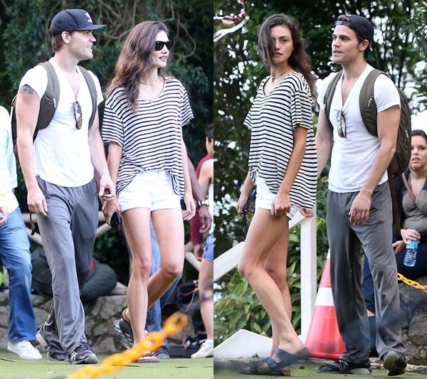 Paul Wesley e Phoebe Tonkin visitam a rampa da Pedra Bonita, no Rio de Janeiro