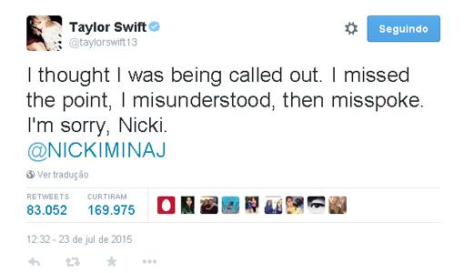 Taylor Swift pede desculpas a Nicki Minaj e cantora aceita