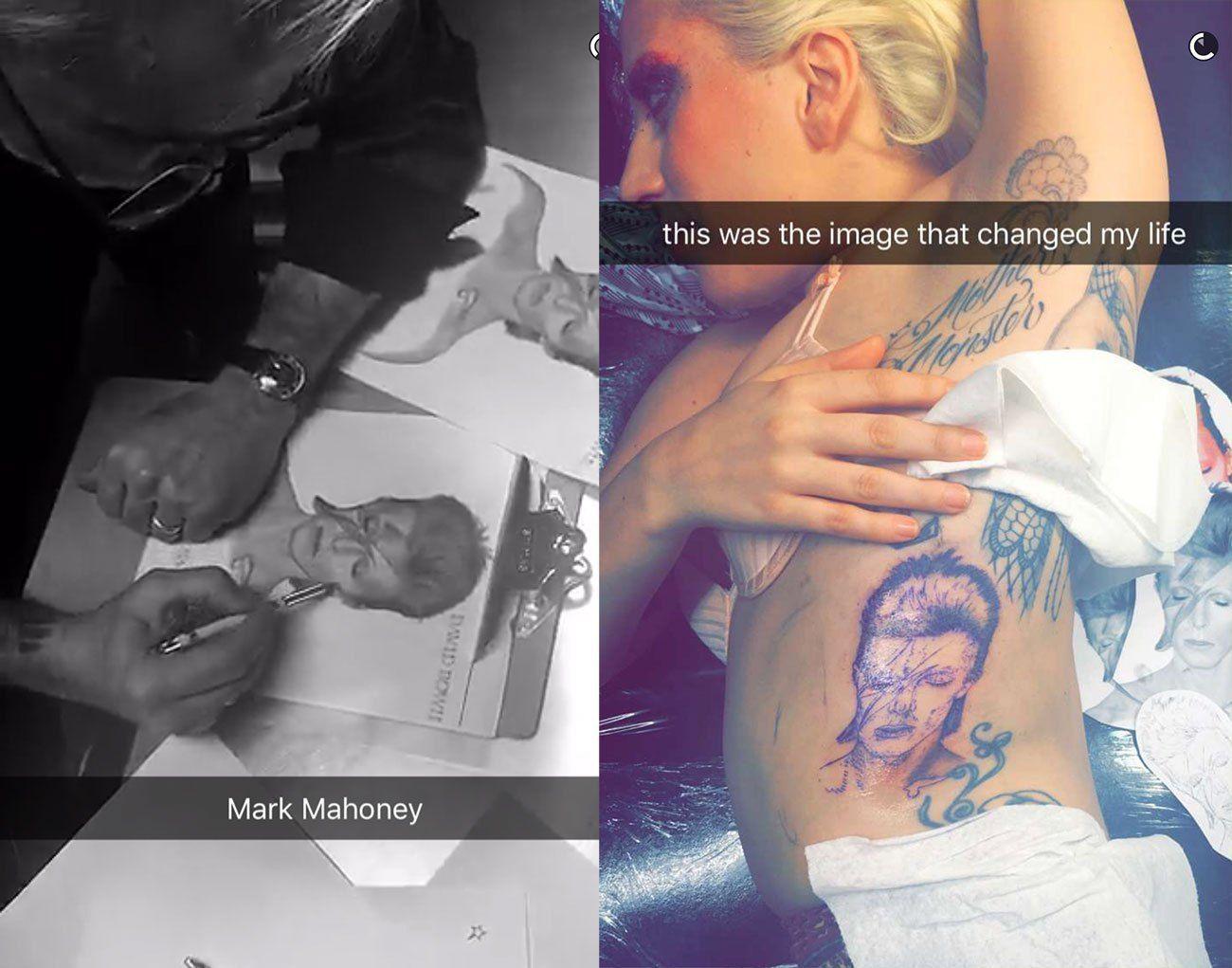 Lady Gaga tatua o rosto de David Bowie em sua costela!
