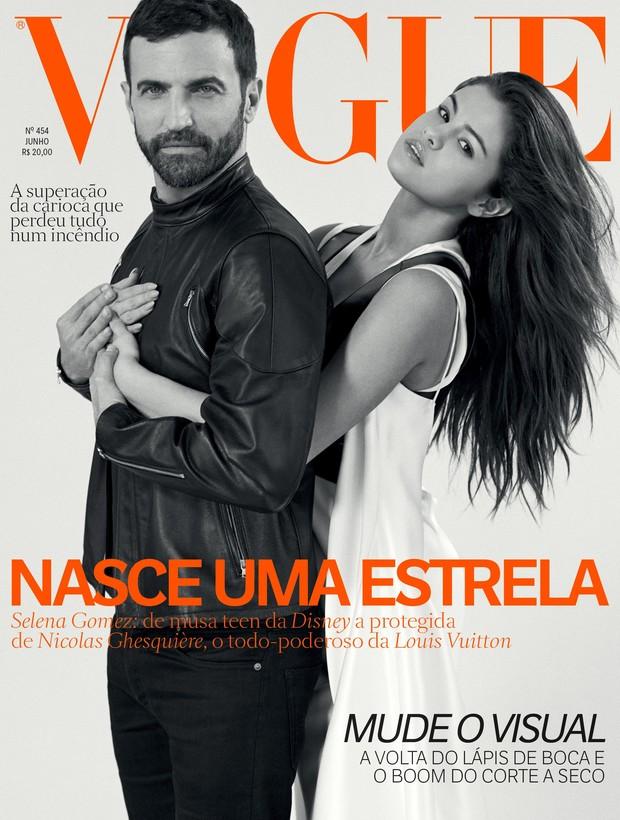 Selena Gomez na capa da Vogue Brasil com estilista