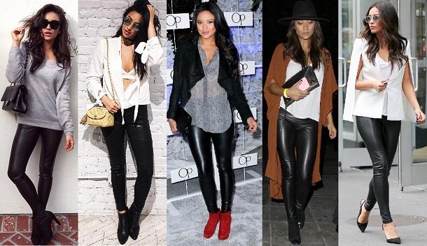 5 looks diferentes da atriz Shay Mitchell usando a mesma calça